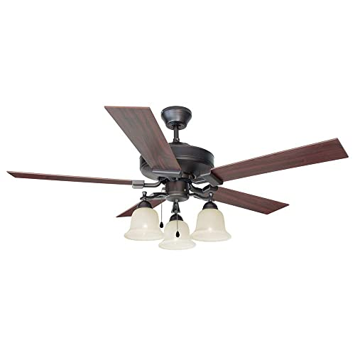 Design House 154112 Downrod Mount, 5 maple Blades Ceiling fan with 60 watts light, Brushed Bronze