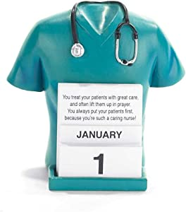Dicksons Nurse Scrubs and Stethoscope Turquoise 5.2 x 4.8 Resin Table Top Figurine and Perpetual Calendar