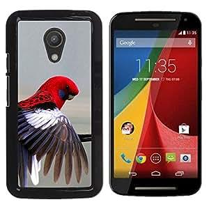 YOYOYO Smartphone Protección Defender Duro Negro Funda Imagen Diseño Carcasa Tapa Case Skin Cover Para Motorola MOTO G 2ND GEN II - loro rojo en colores pastel gris plumas de aves tropicales