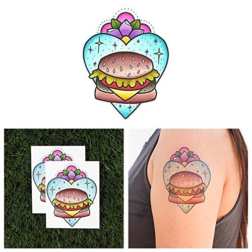 Cheese Burger Child Costumes (Tattify Burger Temporary Tattoo - Cheeseburger in Paradise (Set of 2) - Other Styles Available and Fashionable Temporary Tattoos - Tattoos that are long lasting and Waterproof)