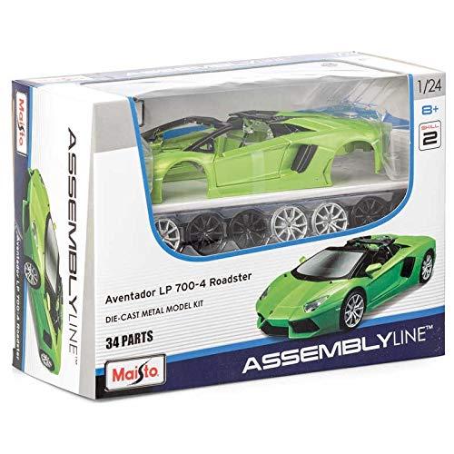 Maisto Assembly Line Lamborghini Aventador Roadster Die Cast Model Kit (1:24 Scale) (Model Car Kits Glue)