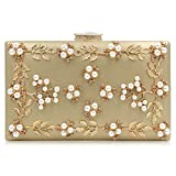 Milisente Women Clutches Pearls Evening Bag Clutch Purse Bags (Gold)