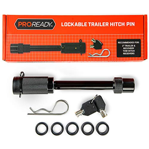 (PROREADY Trailer Hitch Lock Pin, 1/2 and 5/8 inch, with Rubber Cap, 2 Keys - Receiver Tow Locks for Hitches on Trucks, Jeeps, SUV, Trailers - Heavy-Duty Towing Pins with Locks for Camping, Traveling)