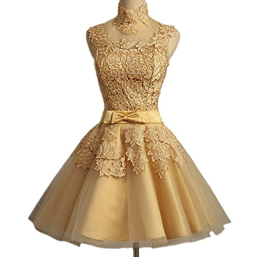 Lace Appliqued Empire Ball Gown Bridesmaid Dress Short Prom Party Dress Gold (Empire Strapless Short)