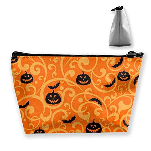Halloween Bat Make Up (Women Halloween Pumpkin Bat Makeup Bag Cosmetic Bags Hand-held Toiletry Travel Organizer for Girl Cosmetics Make Up Tools)