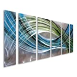 """Abstract Color Warp - Large Modern Metal Wall Art Decor - Set of 6 Panels Green Blue Artwork for Kitchen or Bedroom - 65"""" x 24"""""""
