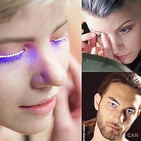 0afc645d318 Amazon.com : LED Eyelashes Light Up Lashes with 7 color Luminous F.Lashes  Shining Charming Eyelid Tape Stripe Fake Eyelashes for Party Bar Night Club  ...