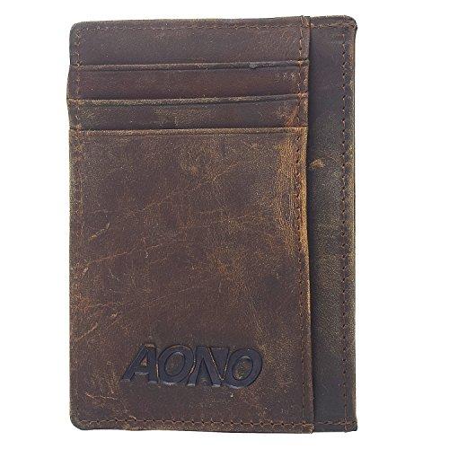 Slim Minimalist Wallet For Men Front Poket RFID Blocking Crazy Horse Leather Wallet