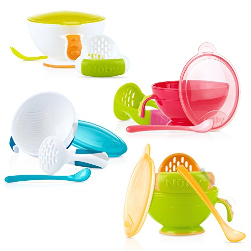 Nuby Garden Fresh Mash N' Feed Bowl with Spoon and Food Masher, Colors May Vary (Feeding Baby Food For The First Time)