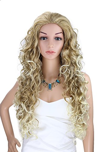 Kalyss Women's Long Curly Mix Blonde Hair (Blonde Curly Wig)