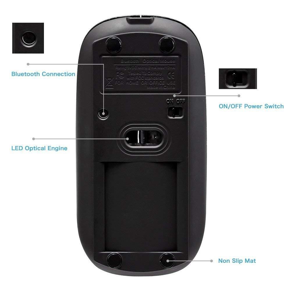 Tonor Inalámbrico Ratón Bluetooth Silencioso Recargable Super Delgado  Revolución del Poder Nuevo Modelo Negro