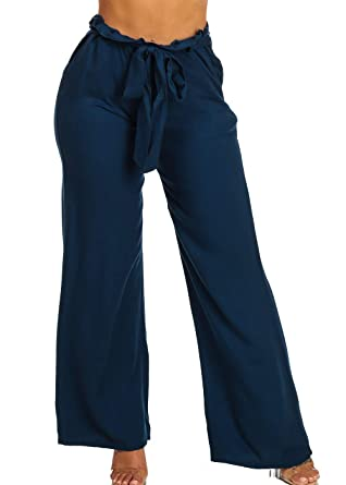 42be6ca01c77 ModaXpressOnline Trendy Navy High Waist 2-Pocket Wide Leg Pants with Belt  Included 30105I