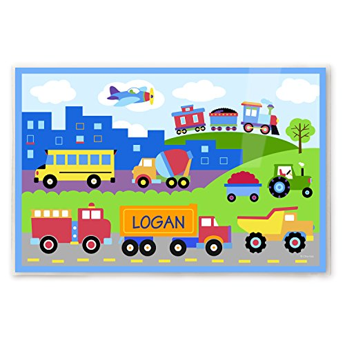 Art Appeel Trains Planes and Truck Personalized Kids Placemat by Olive Kids