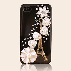 New Fashion Premium Bling Luxurious Design Diamond Black Snap-on Case for Apple iPhone 4, 4S, iPhone4, Diamond-encrusted Eiffel Tower around Shine Flowers , with Free Screen Protector!