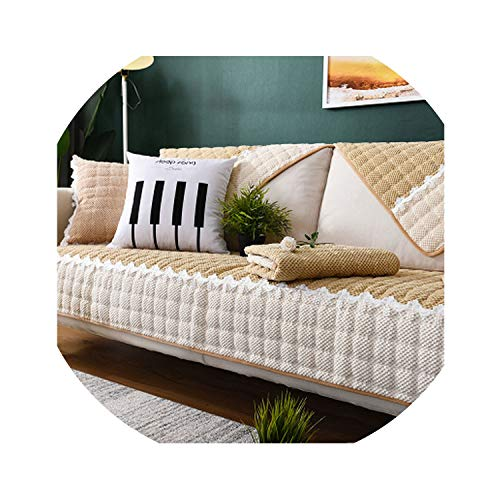 (Modern Lace Sofa Cover Couch Cushion for Living Room Cotton Plush Sofa Towel Slip Resistant Plaid Couch Covers Soft Slipcover,As Picture6,90x240cm)