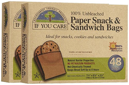 If You Care 100% Unbleached Paper Snack & Sandwich Bags, 48ct, 2pk (Paper Sandwich Bags)