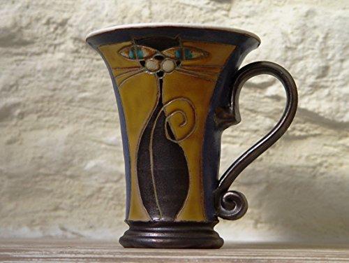 Cat Tumbler Set - Blue and Orange Wheel Thrown Pottery Mug with Hand Painted Cat, Handmade Mug
