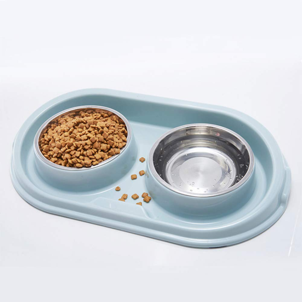 A Double Stainless Steel Dog Cat Bowls with NonSpill,NonSlip Design, for Small Dog Food and Water Feeder,B