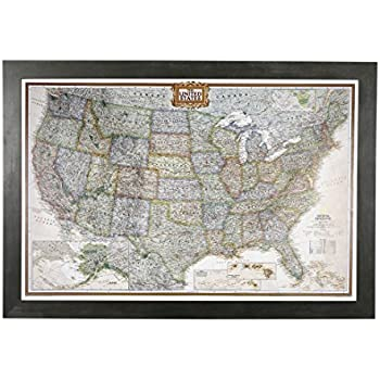 Amazon push pin travel maps executive us with rustic black push pin travel maps executive us with rustic black frame and pins 24 x 36 gumiabroncs Choice Image