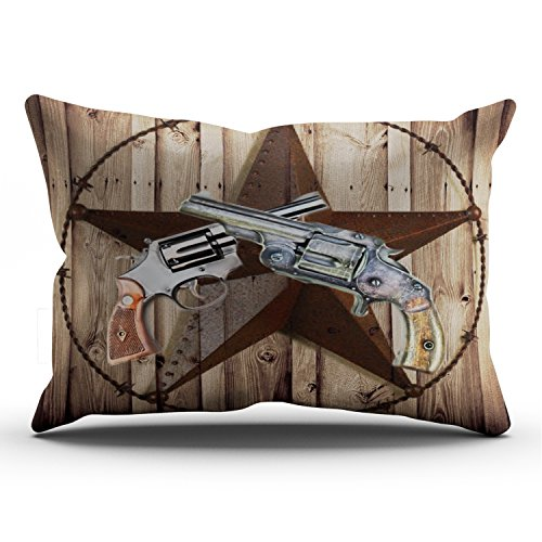 Fanaing Bedroom Custom Decor Woodgrain Texas Star Cowboy Western Country Pistol Pillowcase Soft Zippered Brown Throw Pillow Cover Cushion Case Fashion Design One-Side Printed Lumbar 12x24 ()