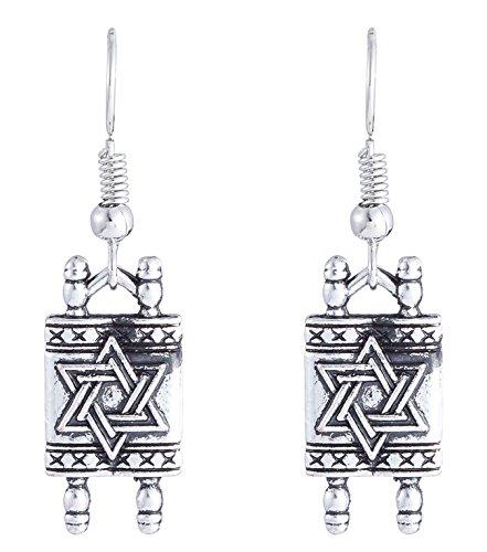 Torah Star - Fashion Star Of David Jewish Hebrew Sefer Torah Scroll Religious Drop Earrings Women Jewelry