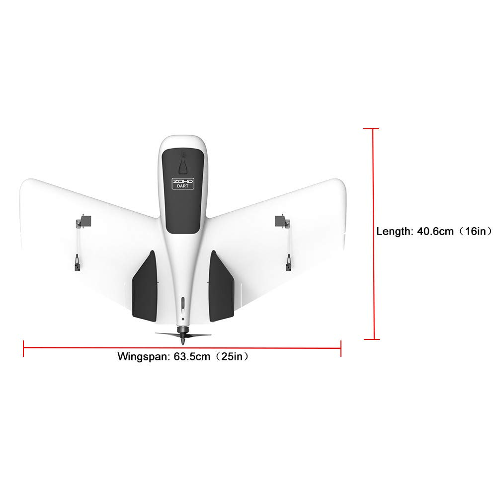 Hisoul ZOHD Dart Sweepforward Delta Wing Glider FPV EPP Racing Wing RC Airplane PNP (White) by Hisoul (Image #9)