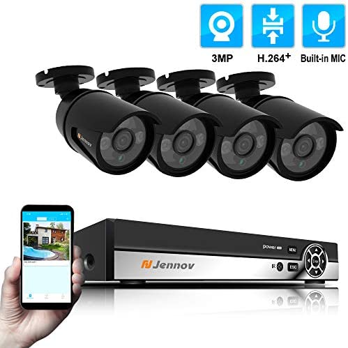 Jennov 4 Channel PoE Power Over Ethernet Security Camera System 3 Megapixels True HD Bullet IP Camera Home Surveillance Outdoor Indoor IP66 Waterproof with Audio Recording Night Vision Motion Alert