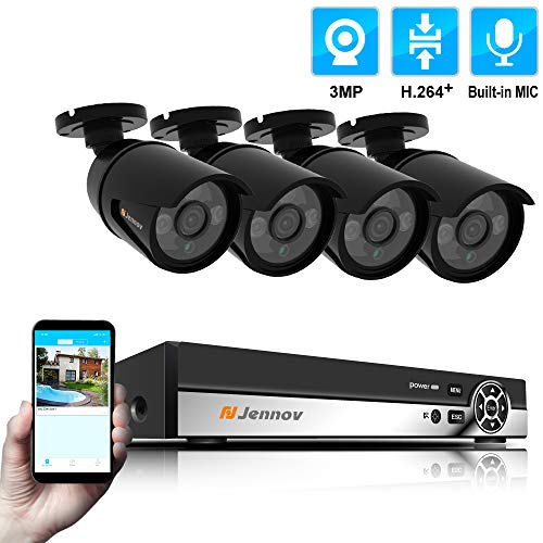 Jennov 4 Channel PoE(Power Over Ethernet) Security Camera System 3 Megapixels True HD Bullet IP Camera Home Surveillance Outdoor Indoor IP66 Waterproof with Audio Recording Night Vision Motion Alert (3 Mp Camera Phone)