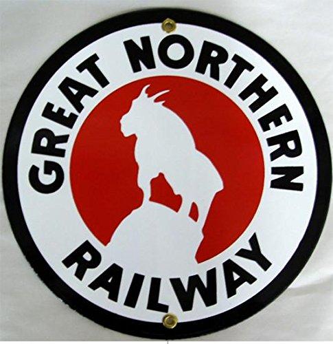 Great Northern Railway Porcelain Round Sign Railroad Rail Train Transportation Locomotive Engine