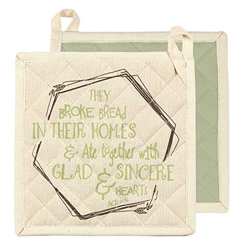 Dicksons They Broke Bread in Their Homes Sage and Cream 8 x 8 All Cotton Quilted Kitchen Pot Holder