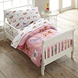 Wildkin 4 Piece Toddler Bed-In-A-Bag, 100% Microfiber Bedding Set, Includes Comforter, Flat Sheet, Fitted Sheet, and Pillowcase, Coordinates with Other Room Décor, Olive Kids Design – Horses