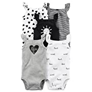 Carter's Baby Girls 5 Pack Bodysuit Set, Sun Sleeveless, 9 Months
