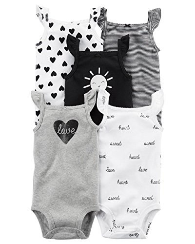 Carter's Baby Girls 5 Pack Bodysuit Set, Love Sleeveless, 18 (Bodysuit Diaper Shirt)