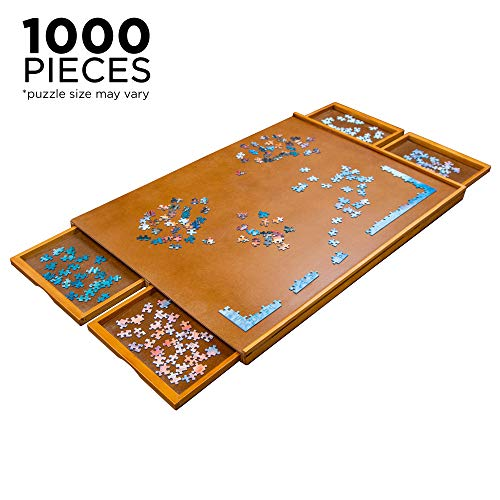 "Jumbl Puzzle Board | 23"" x 31"" Wooden Jigsaw Puzzle Table w/Smooth Plateau Work Surface, 4 Storage & Sorting Drawers & Reinforced Hardwood Construction for Standard Games & Puzzles Up to 1,000 Pieces"