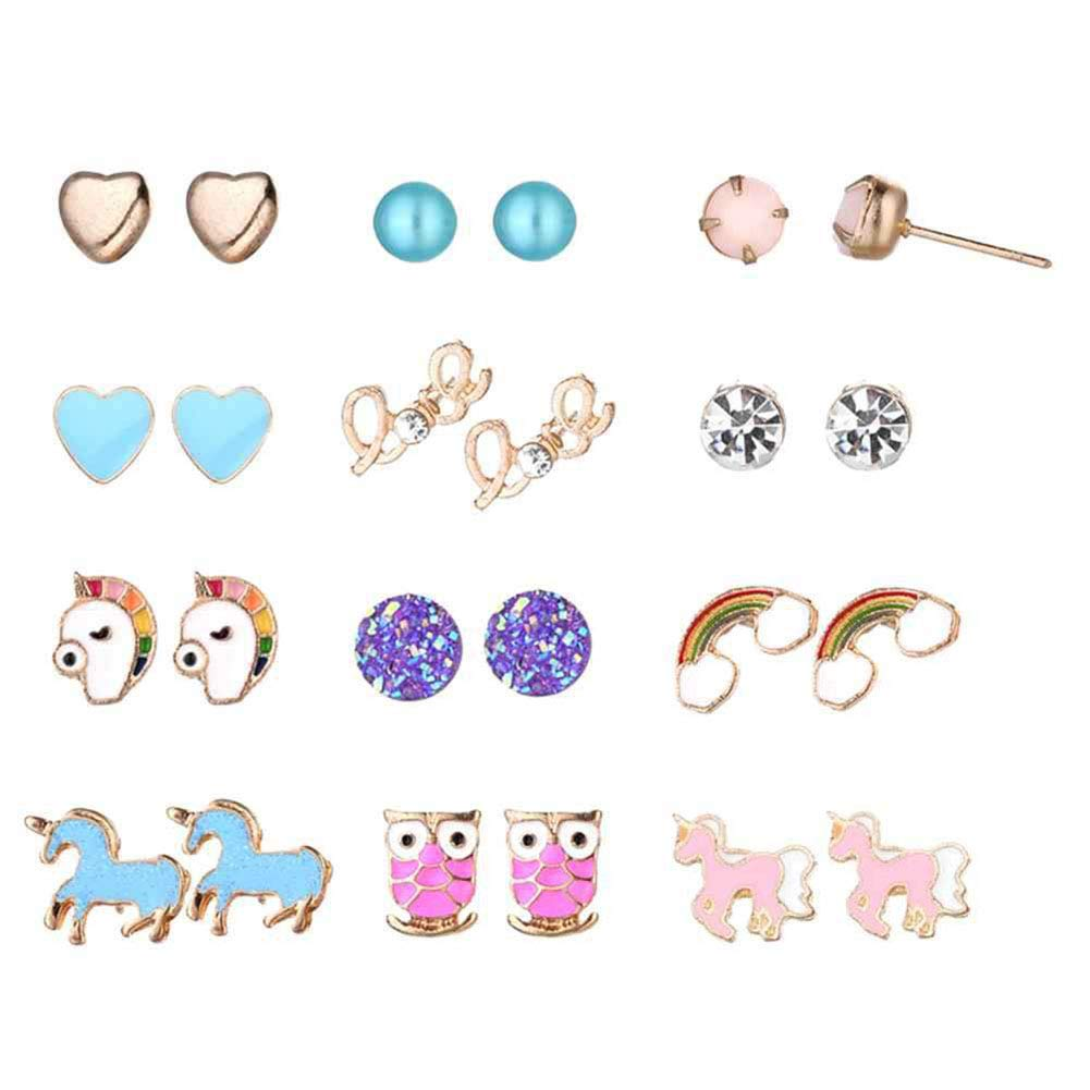Stud Earrings Set for Women Girls Silver Gold Crystal Pearl CZ Assorted Boho Piercing Assorted Bead Charms Multiple Vintage Earring Valentine Birthday Christmas Gifts