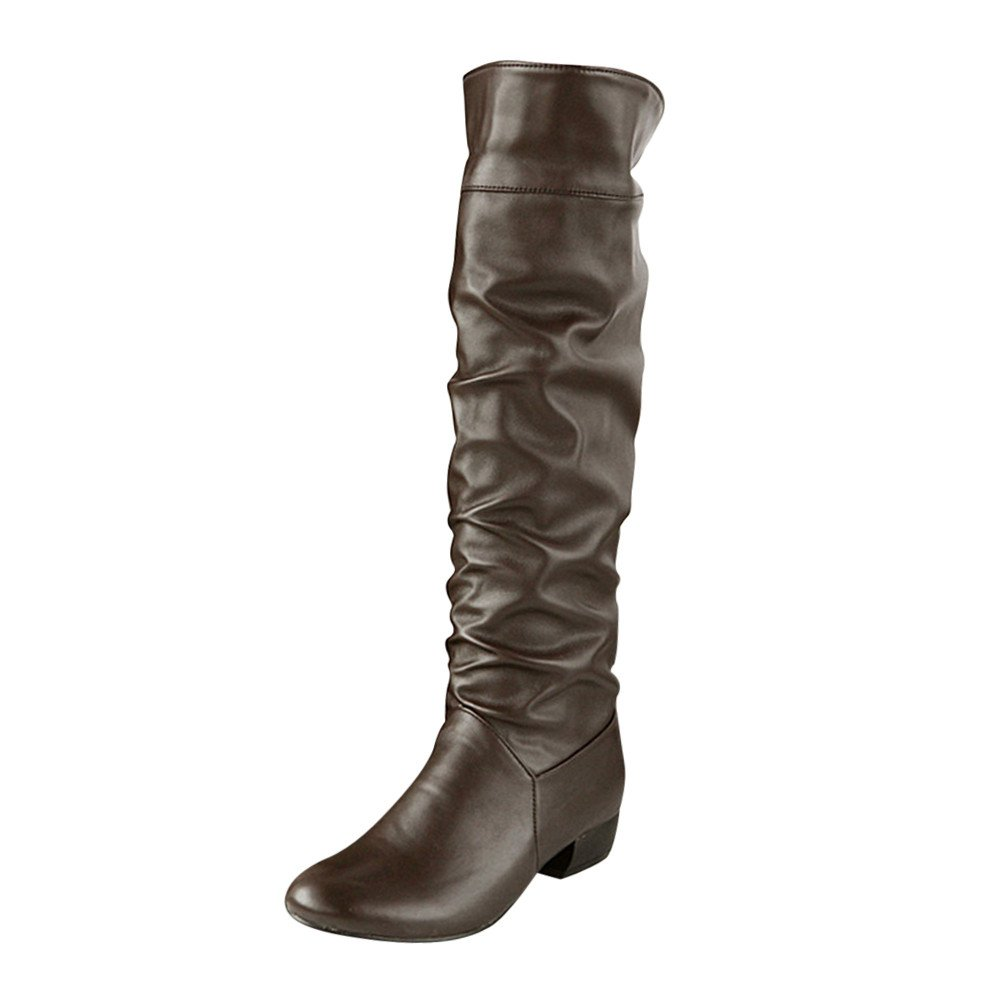 Women's Winter Knee High Boots - Fashion Party Sexy Thigh High Tube Flat Heels Ruched Riding Long Boots (Brown, US:6)