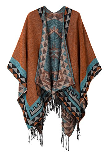 Urban CoCo Women's Printed Tassel Open front Poncho Cape Cardigan Wrap Shawl (Orange-series 5)