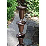Bronze Flared Cups Aluminum Rain Chain with Installation Kit - 8 Foot