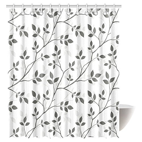 InterestPrint Leaves Decor Collection, Branches in the Fall Trees Stem Twig with Last Few Leaves Minimalistic Design Art Bathroom Shower Curtain Set with Hooks, 72 X 84 Inches Extra Long
