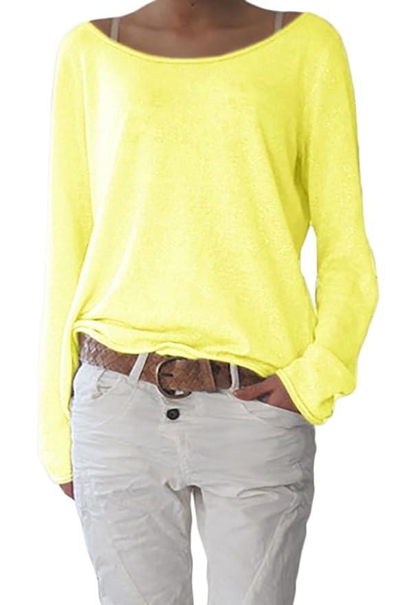 Damen Rundhalsausschnitt Langarm Lose Bluse Strickpulli Hemd Shirt Oversize  Sweatshirt in vielen Trend Farben Tops S M L XL (632)  Amazon.de  Bekleidung fac927d1a5