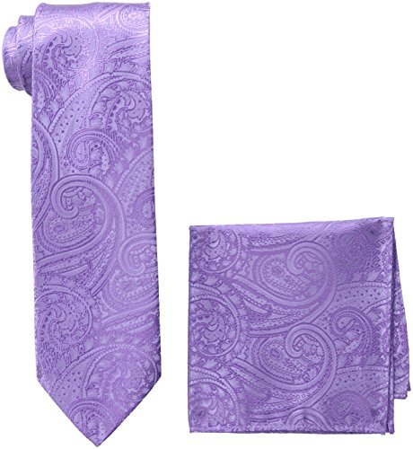 Pierre+Cardin+Men%27s+Solid+Paisley+Tie+and+Pocket+Square%2C+lavender%2C+One+Size