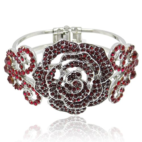 (EVER FAITH Austrian Crystal Wedding Rose Flower Butterfly Bangle Bracelet Red Silver-Tone)