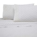 Martex Cotton Rich Bed Sheet Set - Brushed Cotton Blend, Super Soft Finish, Wrinkle Resistant, Quick Drying,  Bedroom, Guest Room  - 4-Piece Queen  Set, White/Black Dots