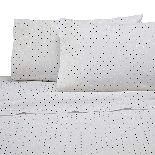 Martex Cotton Rich Bed Sheet Set - Brushed Cotton Blend, Super Soft Finish, Wrinkle Resistant, Quick Drying,  Bedroom, Guest Room  - White/Black Dots (Stripe White Ticking)
