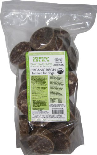 Paw Naturaw Grass Fed Organic Bison Diet for Dogs, Medallions, 56-Ounce Zip Close Bags (Pack of 8) by Paw Naturaw