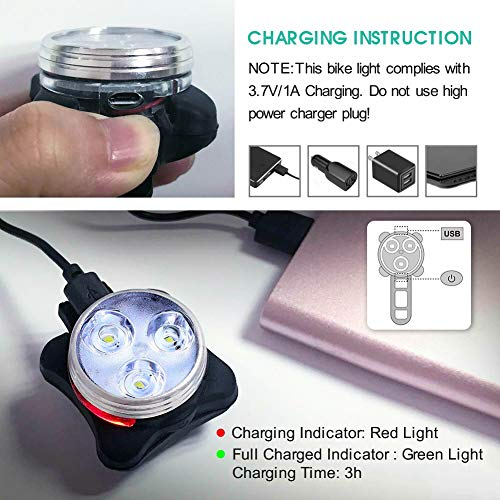 USB Rechargeable Bike Light Set, Super Bright Front Headlight and Rear LED Bicycle Light, 4 Light Mode Options, Water Resistant IPX4(2 USB Cables and 2 Strap Included)