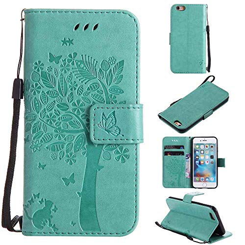 iPhone SE 5 5S Case, Embossed Tree Cat Butterfly Pattern PU Leather Wallet Stand Flip Case Cover with Card Holder Shell Soft TPU Silicone Bumper for Apple iPhone SE/5S/5