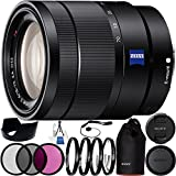 Sony Vario-Tessar T E 16-70mm f/4 ZA OSS Lens 23PC Bundle. Includes Manufacturer Accessories + 3PC Filter Kit (UV-CPL-FLD) + 4PC Macro Filter Set (+1,+2,+4,+10) + Deluxe Starter Kit + Cap Keeper