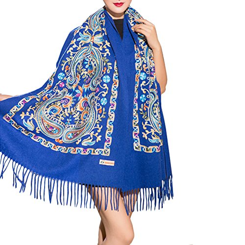 TLH Women's Exotic Design 100% Wool Delicate Embroidered Soft Scarf Wrap Shawl Blue1