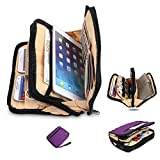 Double Layer Tablet Sleeve Case Cable Organizer Electronics Accessories Bag Travel Packing Cube Card Case,Purple